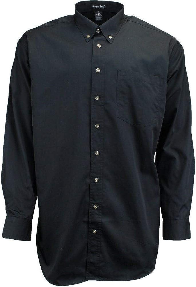 Rivers' End Mens Ezcare Woven Shirt Top Casual Shirt - Black