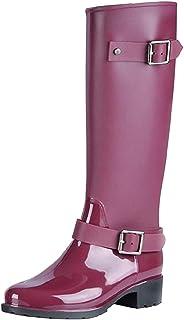 AONEGOLD Botas de Agua Mujer Lluvia Altas Zapato Impermeables Ajustable Cremallera y Hebilla Goma Botas Wellington