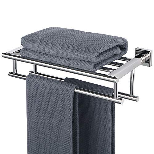 Sayayo Estante de toalla de baño de 16 pulgadas con toallero doble para toallero, acero inoxidable SUS304 pulido cromado,...