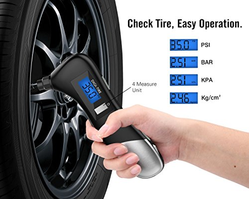 Brightt 9-in-1 Digital Tire Pressure Gauge 150PSI with Multi functional Rescue Tools of LED light, Hammer, Seatbelt Cutter, Screw Drivers, Scissors and Pliers for Cars SUVs Trucks Motorcycles Bikes