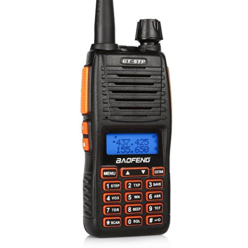 BaoFeng GT-5TP 8W/4W/1W Tri-Power Dual Band Radio Handheld Two Way Radio Walkie Talkie with Earpiece + 2000mAh Battery + Dual PTT