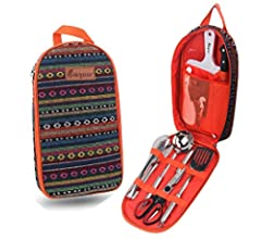 Knife Spork Cutting Board Bisgear Backpacking Camping Cookware Camp Kitchen Utensil BBQ Organizer Travel Mess Kit with Water Resistant Case Scissors Rice Paddle Tongs