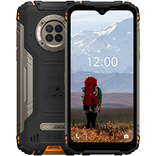 """Rugged Phone Unlocked DOOGEE S96 Pro 8GB+128GB Infrared Night Vision Helio G90 Octa Core Waterproof Android Phone, 48MP+20MP, 6.22"""" + Global 4G LTE GSM AT&T T-Mobile Dual SIM Phone 6350mAh(Orange)"""