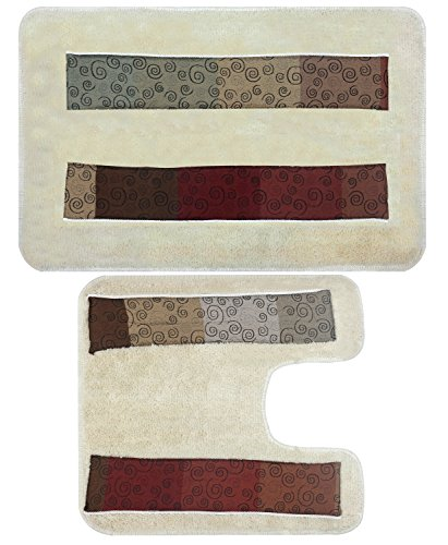 PBP Popular Bath Miramar Bath Collection - Contour & Banded Bath Rug Set