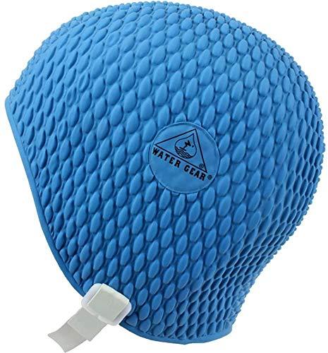 Water Gear Natural Rubber Swim Bubble Cap, Royal Blue. Large