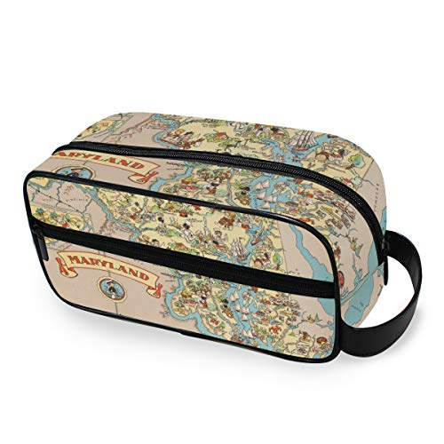 Outils Cosmétique Train Case Beauty Storage Portable Voyage Maryland State Map Cartoon Pattern Makeup Bag Toiletry Pouch