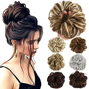 Beauty Shopping Hair Bun Extensions Wavy Curly Messy Donut Chignons Hair Piece Wig Hairpiece