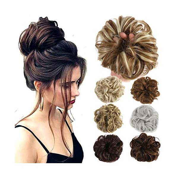 Beauty Shopping Hair Bun Extensions Wavy Curly Messy Donut Chignons Hair Piece