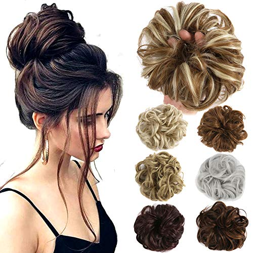 Lelinta Ash Blonde Mixed Bleach Blonde Messy Bun Hairpiece Extension