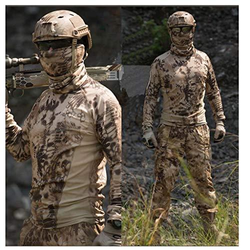 CIGONG Tarnanzug for das Angeln im Freien Jagdvogelbeobachtung Langarm-T-Shirt mit Rundhalsausschnitt Schlanke Taktische Hose mit atmungsaktiver Selbstaufzucht Tarnen (Size : XL)