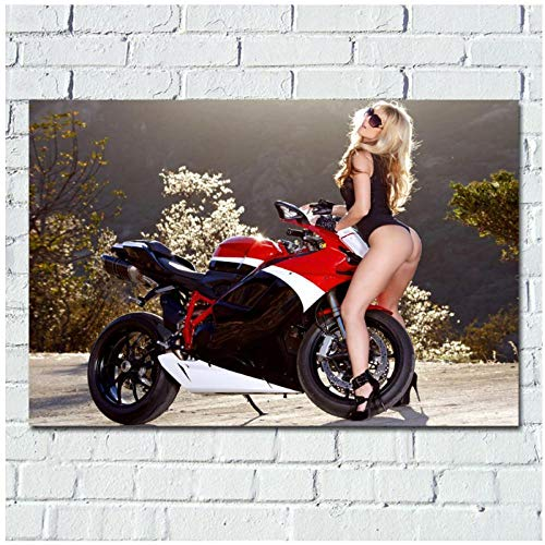 Non-branded artaslf Mädchen sexy Modell Bikini Motorrad Wallpaper Bild Wandkunst Poster Leinwand Stoff Gedruckt für Raumdekoration- 50x70cm ungerahmt