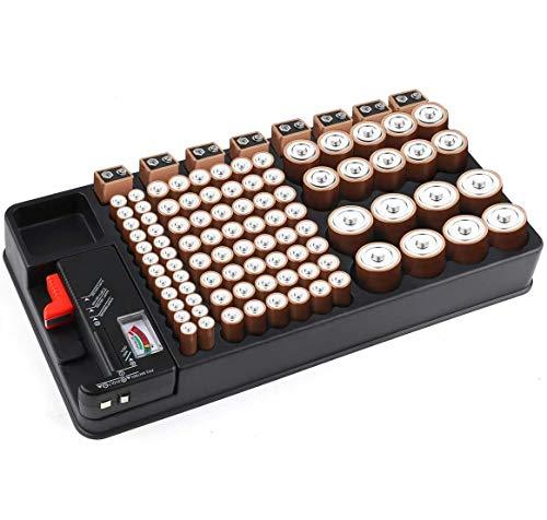 Batterie Organizer, Batterie Aufbewahrungskoffer für 110 Batterie-Steckplätze unterschiedlicher Größe für AAA-, AA-, 9V-, C-, D- und Knopfbatterien mit herausnehmbarem Batterietester von Makerfire
