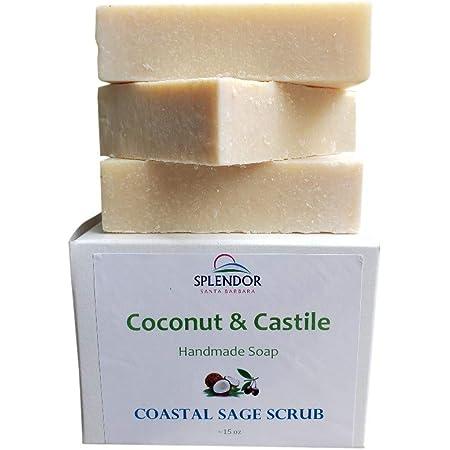 Sage Scrub Coconut Castile Soap with ORGANIC Shea butter. Handmade USA, Vegan, Natural, Moisturizing.