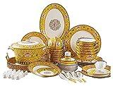 Geschirrtt Bone China Geschirr Set Chinesische KeramikgesChirrschüssel und Platnsatz (Farbe: Amarillo, Tamaño: 60pc) Yuechuang (Color : Yellow, Size : 60PC)