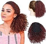 SEGO Chignon Afro Postiche Africaine Kinky Curly Clip Queue de Cheval Court Synthetique [ A Pince ] Puff Magique Cheveux Extension Fibres - 8'(20CM) 130g Noir Naturel Mèche Vin Rouge