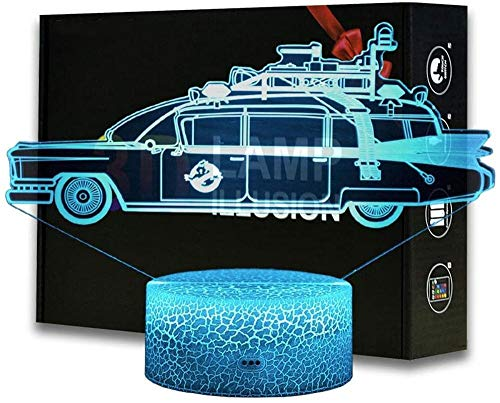 3D Night Light 3D Illusion Lamp ECTO 1 Ghostbusters Vehicle 16 Colours Changing Acrylic LED Night Light for Boys and Girls as on Birthdays or Holidays Solar System Gift
