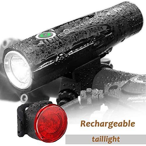 Leynatic - Luces LED Impermeables para Bicicleta, luz Recargable por USB, Luces Delanteras y traseras para Bicicleta al Aire Libre, Linterna portátil, lámpara de 800 lúmenes