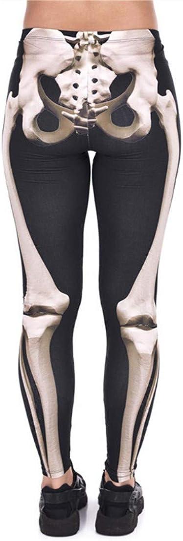 Tamskyt Womens Fashion Digital Printed Black White Skeleton Spandex Tights Leggings Stretchy Trousers Skinny Pants Workout