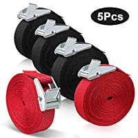 Come in 5 pack tensioning belts with solid clips, 3 in black and 2 in red Size 5 m * 2.5 cm, ideal for cargo bundling and tightening Made of high quality polyester webbing fibers, strong and lightweight Securely tightens loads to 100Lbs of actual use...