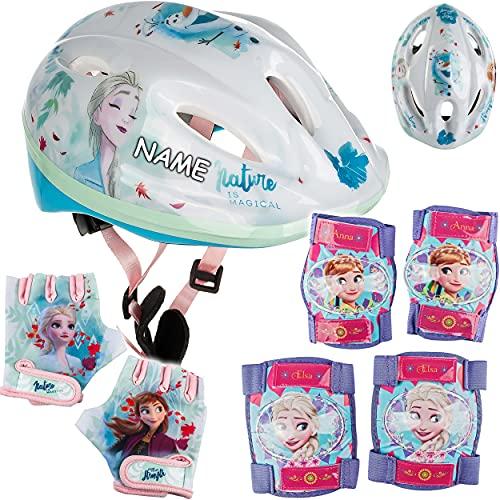 alles-meine.de GmbH 7 TLG. Set: - Sicherheitsset - Kinderhelm / Fahrradhelm + Fahrradhandschuhe + Knie & Ellenbogenschützer - inkl. Name - Disney die Eiskönigin - Frozen - Gr. 52..