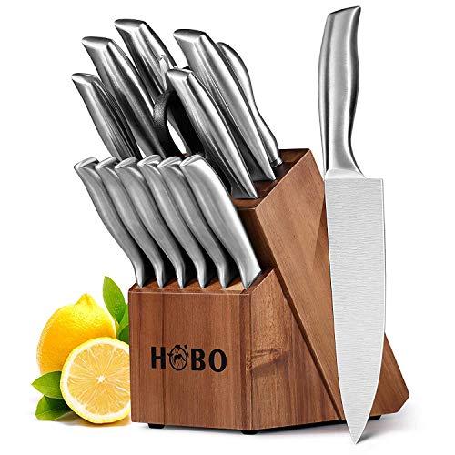 HOBO Messerset, 14-teilig, Küchenmesser Set, Hölzerner Messerblock Set, Kochmesser Set mit Spitzer, Hoher Edelstahl, Besteckset Geschenk (Silber)