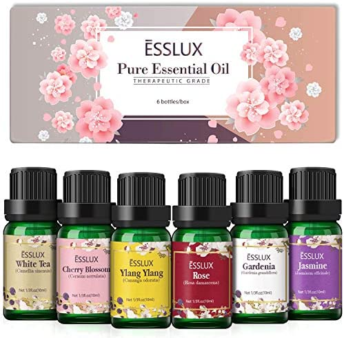 Floral Essential Oils Set Esslux Pure Aromatherapy Diffuser Oils Rose Ylang Ylang Jasmine Cherry product image