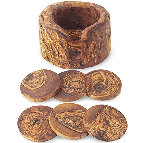 Forest Decor - Sottobicchieri in legno, perfetti per cucina e soggiorno, realizzati in legno di ulivo, realizzati a mano in Germania (sottobicchieri e porta tronchi)