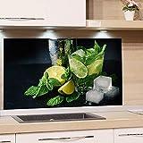 GRAZDesign Rückwand Küche Limetten - Küchen Spritzschutz Herd Caipirinha - Küchenrückwand Glas Cocktail / 80x50cm