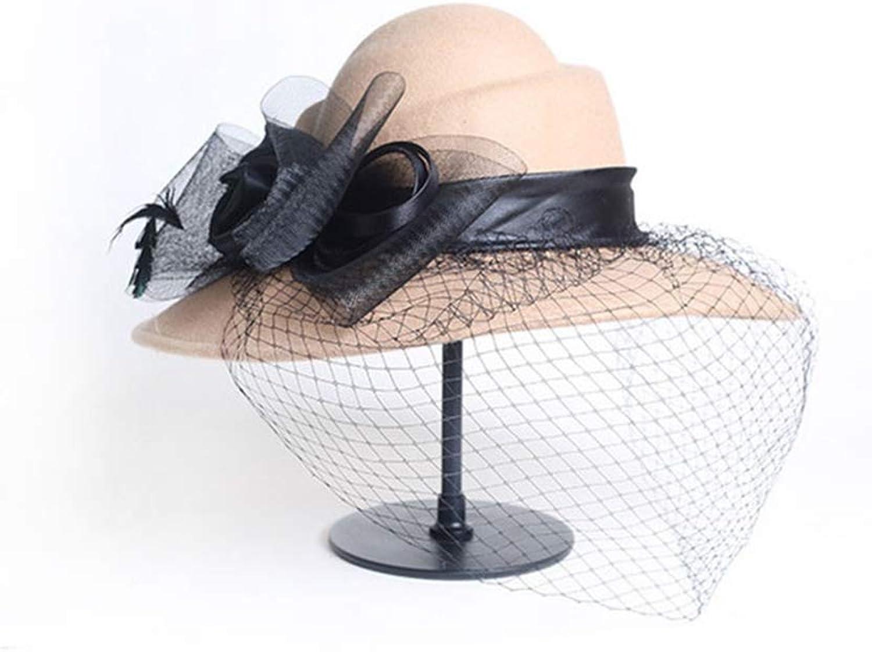 JYDIY Wool Felt Facsinator Hat with Wide Brim Cocktail Party Wedding Fedora Church Hat