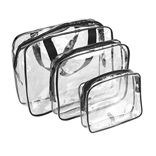 Asixx Bolsa de Almacenamiento de Viaje, 3 Piezas Transparente Bolsas de Almacenamiento de PVC, Almacenar Varios Tamaños de Libros, Cosméticos, Lociones, Teléfonos Celulares, Cables, Billeteras, Llave