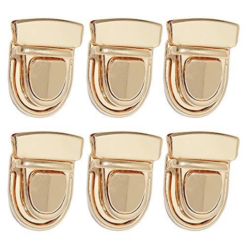 Nifocc Metall Mappenschloss Steckschloss Geldbörse Push Lock Set DIY Lock Zubehör für Leder Tasche Portemonnaie - Gold 6 STK