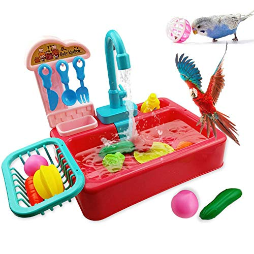 Bañera para loros, bañera para pájaros con ducha de espogelo, juguete de baño automático no tóxico e inodoro, con comedero para pájaros, adecuado para bañar pájaros y animales domésticos.