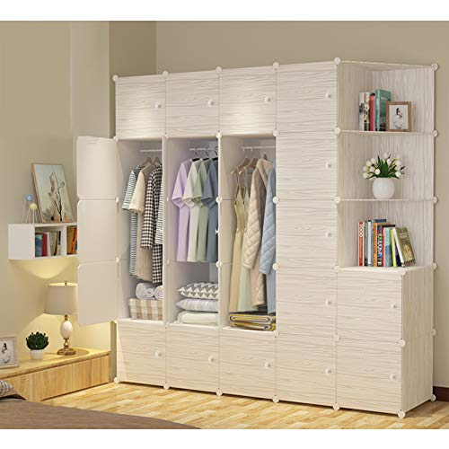 Save %34 Now! Xnxn Portable Wardrobe Armoire Organizer, Wood Grain Resin Bedroom Armoire Closet Modu...