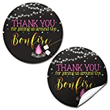 Backyard Bonfire Camping Under The Stars Birthday Thank You Sticker Labels for Girls, 40 2' Party Circle Stickers by AmandaCreation, Great for Party Favors, Envelope Seals & Goodie Bags