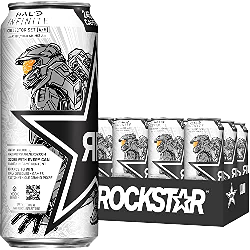 Rockstar Pure Zero Energy Drink, Silver Ice, 16oz Cans (12 Pack) (Packaging May Vary)