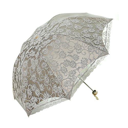 AiSi Parapluie pliable en dentelle pour femme - Double couche - Anti-UV - Joli parapluie de voyage compact - Trois plis - Protection contre les UV