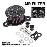 Filtro de aire para motocicleta Harley SPORTSTER XL883 XL1200 48 72 1991-2017 negro