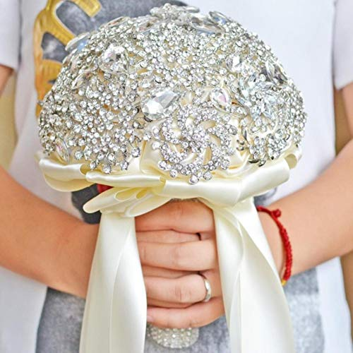 Holding Wedding Bouquet Silver Rhinestones Flowers Wedding Accessories Holding Bride Bouquet for Marriage