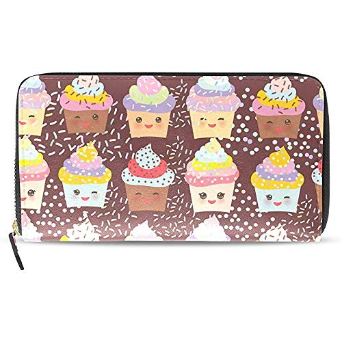 Portatarjetas De Cuero con Cremallera Alrededor Bolso De Embrague para Mujer Cupcake Kawaii Divertido Patrón Cartera Larga Y Monedero Tarjetero