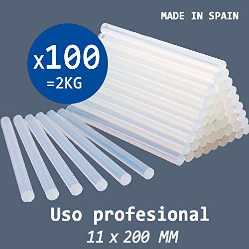 PACK 2 KG de COLA TERMOFUSIBLE 100 BARRAS de silicona traslúcida para pistola caliente 11,5 x 200 MM - PROFESIONAL RZ TOOLS - Fabricada en España 100%