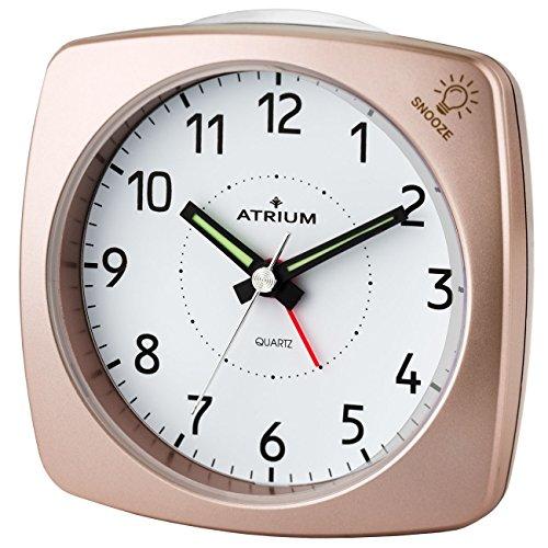 ATRIUM Wecker analog rosé metallic ohne Ticken, mit Licht und Snooze A251-17