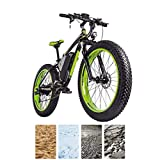 26 inch Electric Mountain Bike 4.0 Fat Tires eBike 1000W 48V 16Ah Lithium Battery Full Suspension Disc Brake 21-Speed Electric Bicycle for Adults (Color : Black Green)