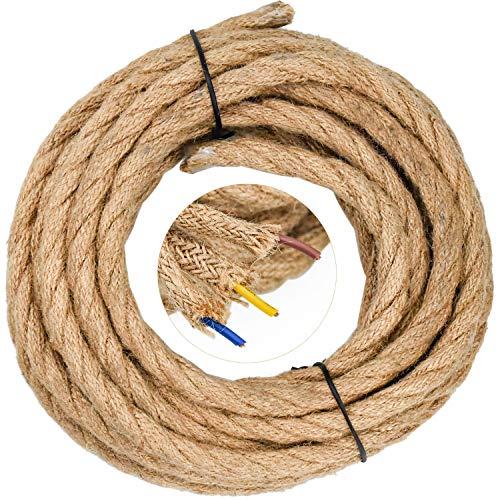 WEKON Cable de Luz Vintage, Cable Eléctrico de Lino, Cable de Alimentación para Lámpara Colgante, Cable Eléctrico Tenzada 5M Núcleo 0.75MM²Cobre y Cáñamo para Lámpara de Techo Industrial