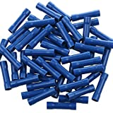 AIRIC Blue Butt Connectors Crimp 100pcs 16-14AWG Butt Connector Fully Insulated PVC Butt Splice Wire Connectors, 16-14 Gauge