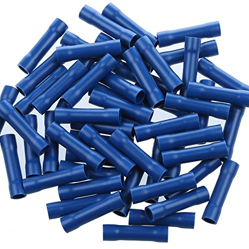 AIRIC Blue Butt Connectors Crimp 100pcs 16-14AWG Butt Connector Fully Insulated PVC Wire Butt Splice Connectors, 16-14 Gauge