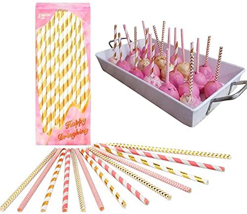 Cannucce Carta Stick Biodégradable Carta Paglia Decorazione Cannucce Sticks al Cioccolato Lollipop Sugars Dessert Morbido Strumenti fai da te Per Desta di Compleanno di Matrimonio ecc 100 pezzi