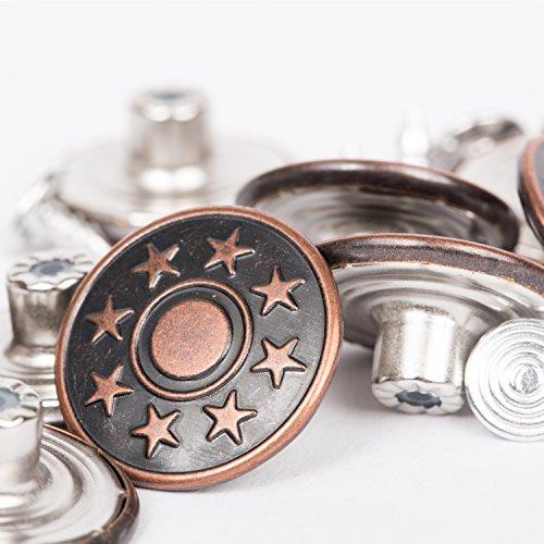 BIG-SAM - 10 Metallknöpfe/Jeansknöfe - ⌀ 20mm - Altkufer, Altsilber oder Silber - mit Motiven - Nähfrei! (Altkupfer)