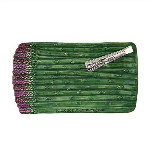 Mud Pie Asparagus Tray with Tongs, 6 1/2' x 11 1/2' 4 1/2', Green