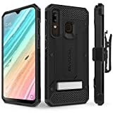 Evocel Galaxy A20 Case Explorer Series Pro with Glass Screen Protector and Belt Clip Holster for The Samsung Galaxy A20, Black