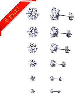 6 Pairs 3mm-8mm White Gold Black Plated Round Clear Cubic Zirconia Stud Earrings